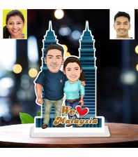 Personalized Malaysia toon Couple Caricature Photo Stand In