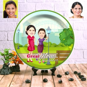 Great Mom and Daughter wall Decor plate with table stand backview