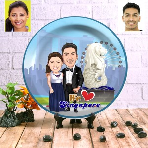 Singapore Couple decor wall plate with table stand backview