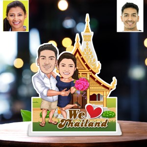 Personalized Thailand toon Couple Caricature Photo Stand In
