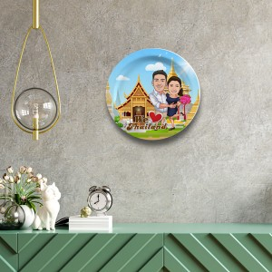 Thailand Couple decor wall plate with table stand
