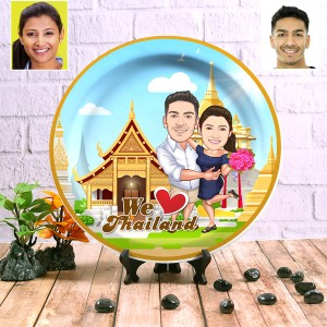 Thailand Couple decor wall plate with table stand backview