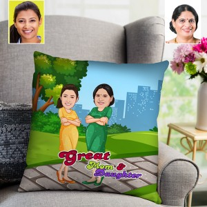 Great Mom and Daughter Toon Cushion