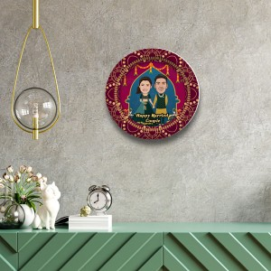 Married Couple decor wall plate with table stand backview