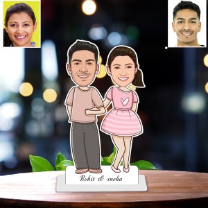 Personalized Cute Toon Couple Caricature Photo Stand In