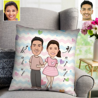 Personalized Cute Toon Couple Cushion