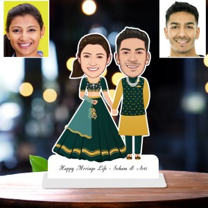 Personalized Happy Married Toon Couple Caricature Photo Stand In