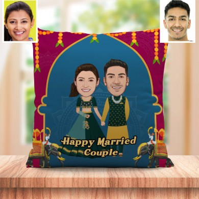 Personalized Happy Married Toon Couple Cushion