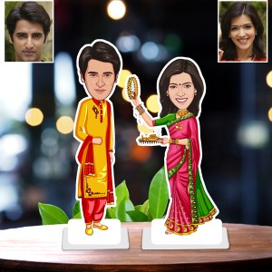 Personalized Karwa chauth toon Couple Caricature Photo Stand In