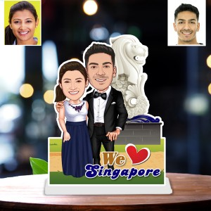 Personalized Singapore toon Couple Caricature Photo Stand In