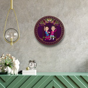 Playing Dandiya Special decor wall plate with table stand