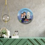 Singapore Couple decor wall plate with table stand