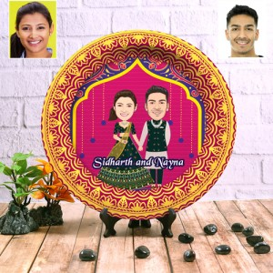 Wedding Couple decor wall plate with table stand backview