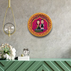 Wedding Couple decor wall plate with table stand