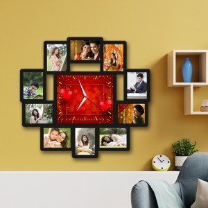 Wooden printed photo collage With Clock WC-002 backview