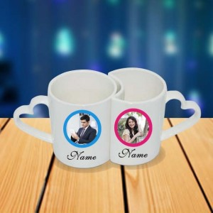 Personalized Mr. and Mrs. couple photo mug set backview