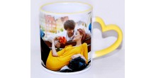 Mug design 01 Yellow Heart Handle Mug