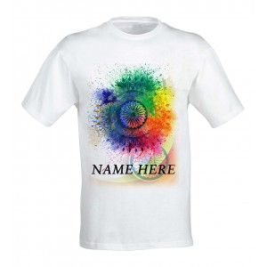 Ashoke Chakra Colorful Patriotic tshirt personalized with name