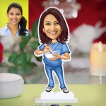 Ayurveda lady doctor caricature Photo Stand In