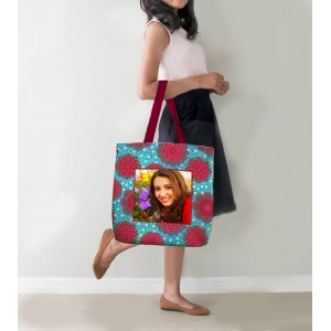 Personalized Tote Bag with design and Photo Blue and Maroon backview