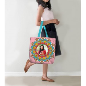 Personalized Tote Bag with design and Photo Pink and Blue backview