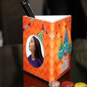 Personalized Pen Stand with Birthday theme with 2 pictures backview