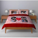 Personalized lightweight satin bed sheet with pillow cover set - maroon design