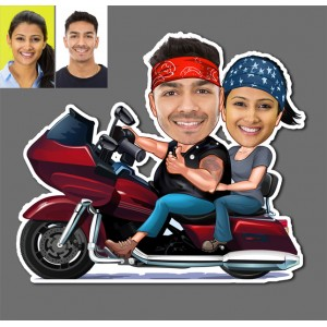 Personalized Bike riding couple caricature fridge magnet backview