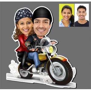 Personalized Bike riding couple caricature fridge magnet B backview