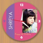 Birthday wall clock in pink with custom photo