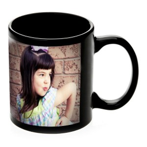 Black glossy personalized photo mug- birthday, anniversary gift