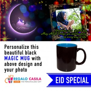 Black Magic Mug inside Sky Blue color Personalized with photo for Eid Special 01