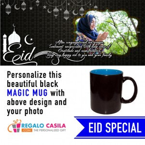 Black Magic Mug inside Sky Blue color Personalized with photo for Eid Special 02