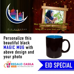Black Magic Mug inside Sky Blue color Personalized with photo for Eid Special 03