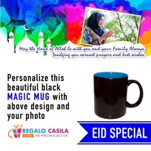 Black Magic Mug inside Sky Blue color Personalized with photo for Eid Special 04