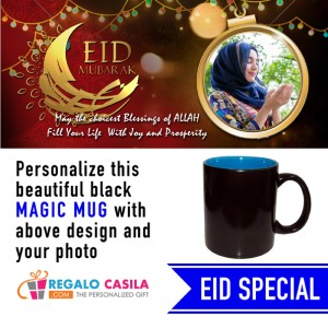 Black Magic Mug inside Sky Blue color Personalized with photo for Eid Special 05