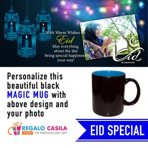 Black Magic Mug inside Sky Blue color Personalized with photo for Eid Special 06