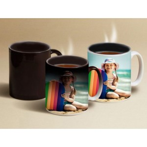 Full black personalized magic mug with photo and text print backview