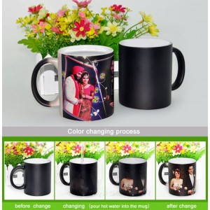 Classic Black Magic Mug - Personalized Photo Birthday, Anniversary gift backview