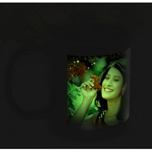 Black radium glow in dark personalized photo mug backview