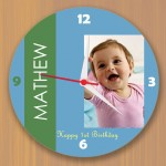 Blue design wall clock with personalized photo n text