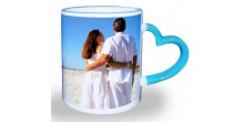 Mug design 07 Blue Heart Handle Mug