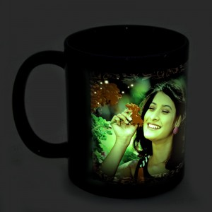 Blue radium glow in dark personalized photo mug backview
