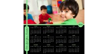 Personalized mouse pad calendar with photo Green