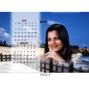Personalized Table Calendar made of cloth backview