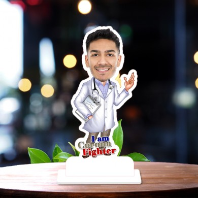 Corona Warrior Doctor 03  Caricature Photo Stand In