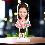 Female Teacher with book Caricature Photo Stand In