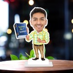 Male Teacher with book 2 Caricature Photo Stand In