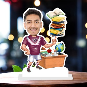 Male Teacher with book 3 Caricature Photo Stand In