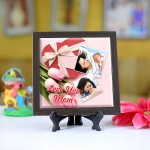 Personalized Photo Tiles with Frame for Mom 03